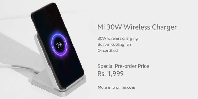 Xiaomi Mi 30W Wireless Charger Launched in India With Built-in Cooling Fan.