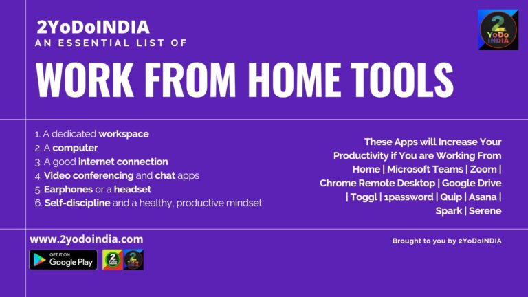 These Apps will Increase Your Productivity if You are Working From Home | Microsoft Teams | Zoom | Chrome Remote Desktop | Google Drive | Toggl | 1password | Quip | Asana | Spark | Serene | 2YODOINDIA