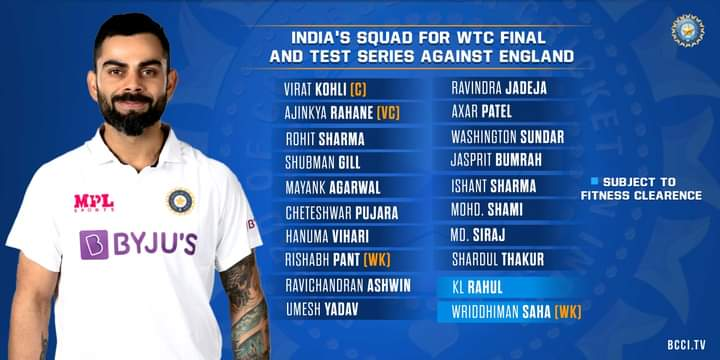 Indian Cricket Team for WTC Final and Test Series Against England Announced   India's Team   Standby players   2YODOINDIA