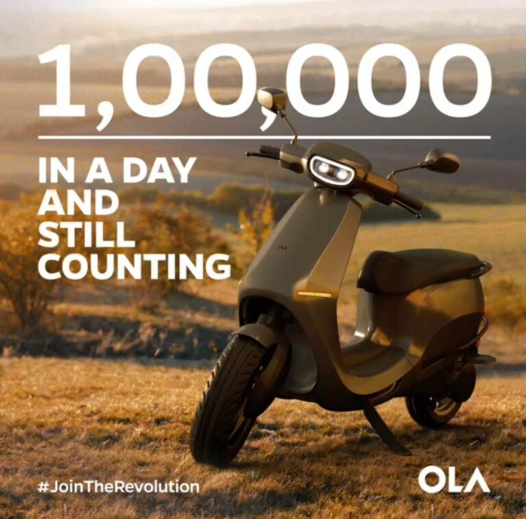 Ola Electric Scooter Receives 1,00,000 Bookings   2YODOINDIA