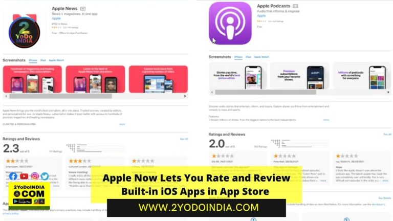Apple Now Lets You Rate and Review Built-in iOS Apps in App Store   2YODOINDIA