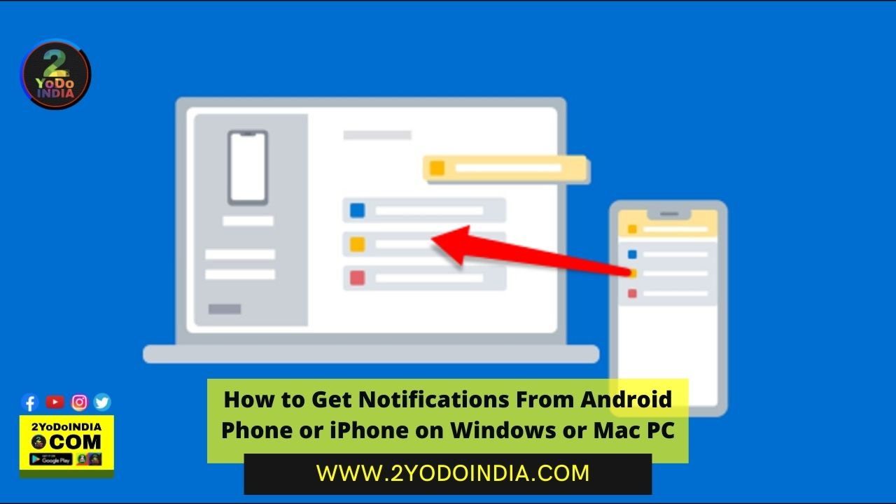 How to Get Notifications From Android Phone or iPhone on Windows or Mac PC   How to Receive Phone Notifications on Windows PC   How to Receive iPhone Notifications on a Mac   2YODOINDIA