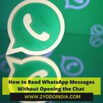 How to Read WhatsApp Messages Without Opening the Chat | How to read Messages without Opening the Chat on Smartphones | How to Read Messages without Opening the Chat on WhatsApp Web | 2YODOINDIA
