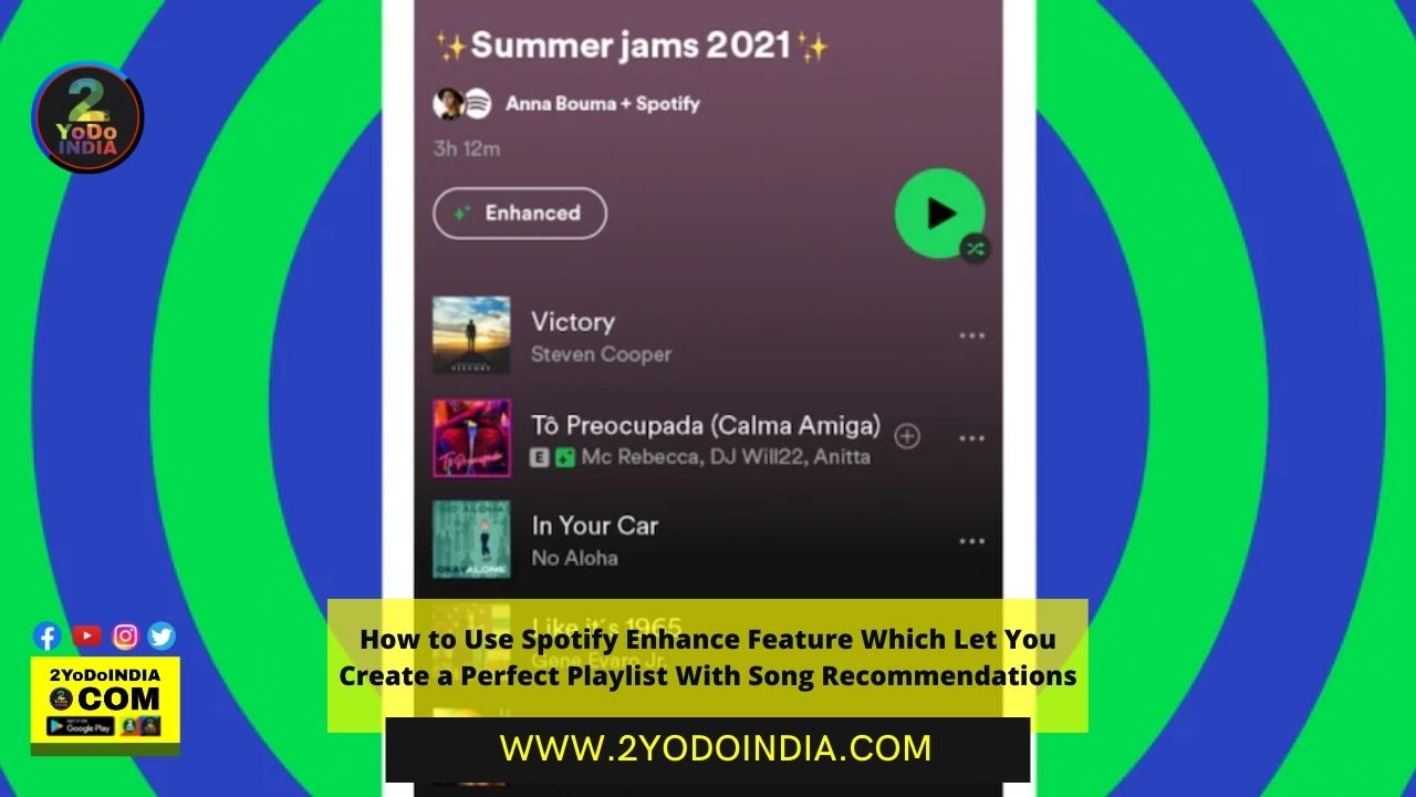 How to Use Spotify Enhance Feature Which Let You Create a Perfect Playlist With Song Recommendations | 2YODOINDIA