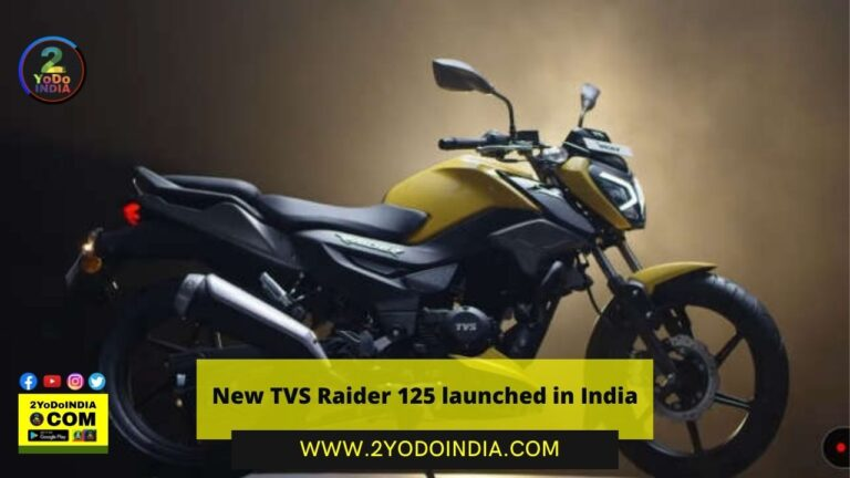 New TVS Raider 125 launched in India | Price in India | Mechanical Specifications | 2YODOINDIA
