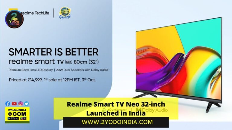 Realme Smart TV Neo 32-inch Launched in India | Price in India | Specifications | 2YODOINDIA