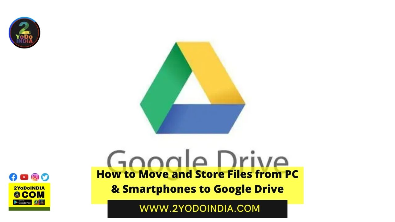How to Move and Store Files from PC & Smartphones to Google Drive   How to Upload toGoogle Drivefrom PCs   How to Upload Files to Google Drive from a Smartphone   How to Create Backup and Sync Files to Google Drive from a PC   2YODOINDIA